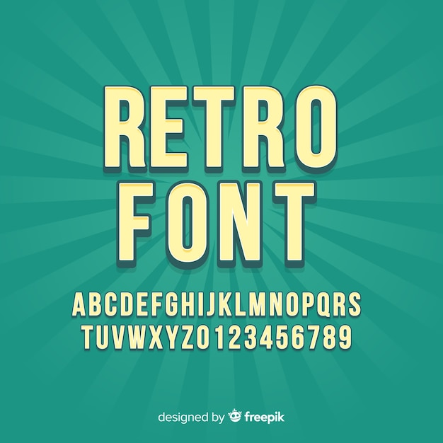 Font with alphabet in retro style Free Vector