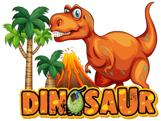 Font  for word dinosaur with scary tyrannosaurus rex Free Vector