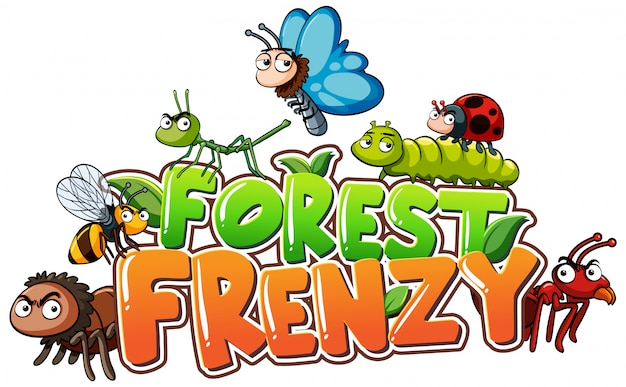 Font for word forest frenzy with insects Premium Vector