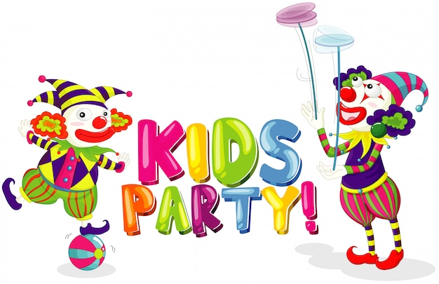 Font  for word kids party with two clowns on white background Free Vector