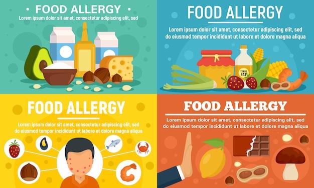 Food allergy banner set Premium Vector