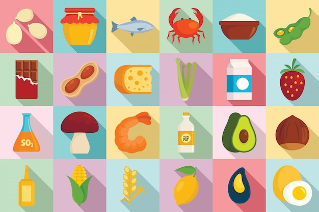 Food allergy icons set, flat style Premium Vector