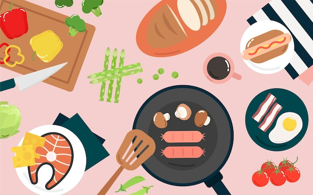 Food and cooking graphic illustration Free Vector