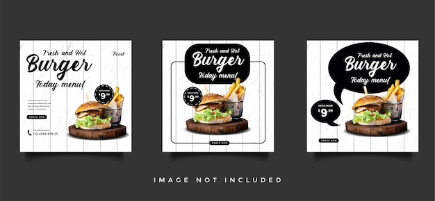 Коллекция шаблонов продвижения продуктов питания и кулинарии в социальных сетях Premium векторы