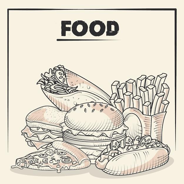 Еда и вкусные закуски гамбургер картофель фри пицца тако рисованной иллюстрации плакат Premium векторы