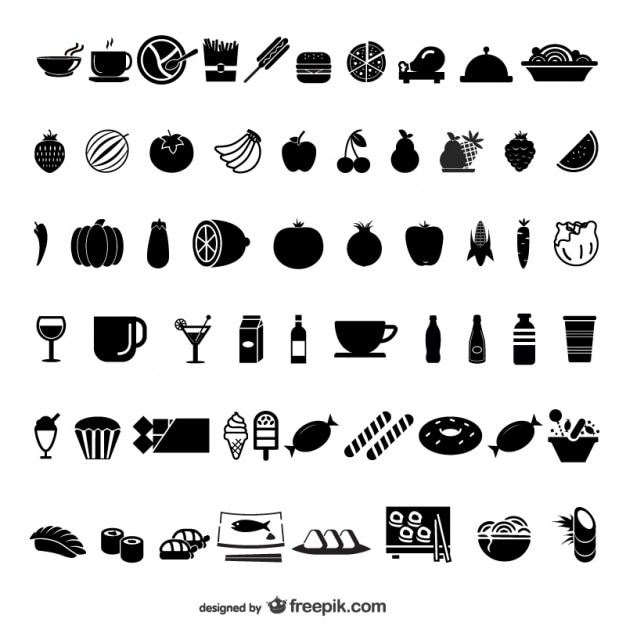 Food and drink black icon set Free Vector