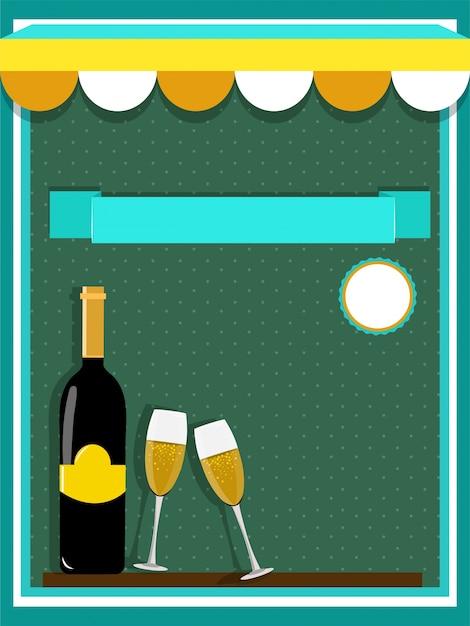 Концепция еды и напитков с шампанским и очками на зеленом фоне. Premium векторы