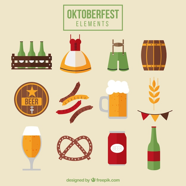 Food and items for the oktoberfest festival Vector | Free ...