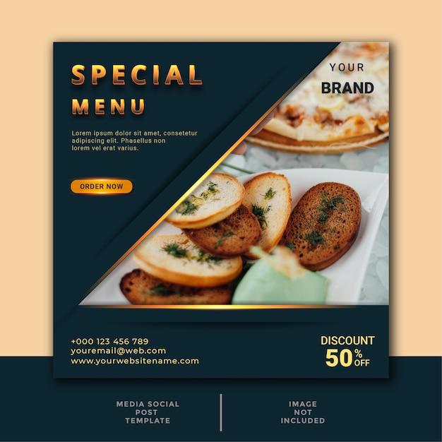 Шаблон сообщения в социальных сетях о еде и ресторане Premium векторы