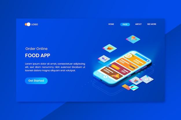 Premium Vector Food App Isometric Concept Landing Page
