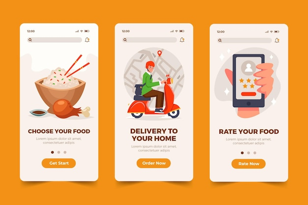 Food app screens Free Vector