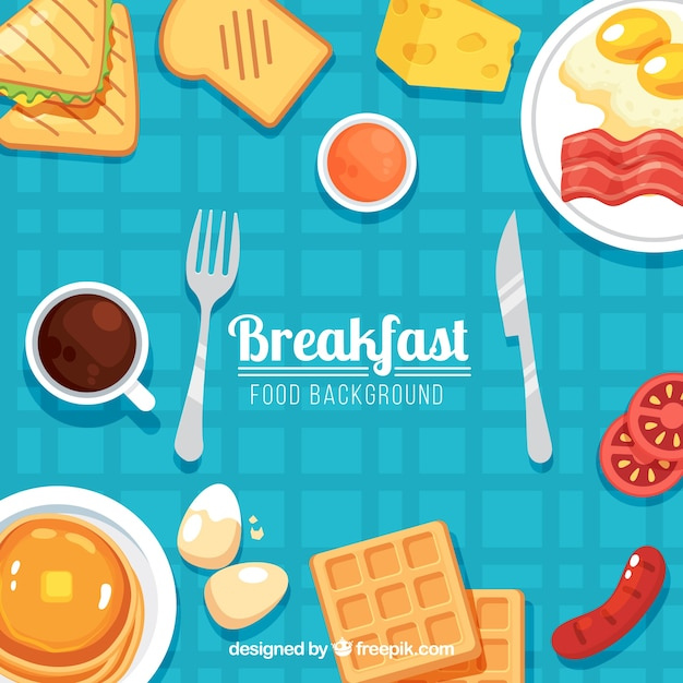Food background with breakfast Free Vector