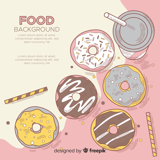 Food background with delicious doughnuts Free Vector