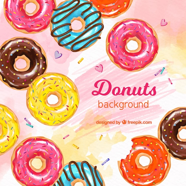 Food background with donuts Free Vector