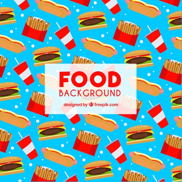 Food background with flat design Free Vector