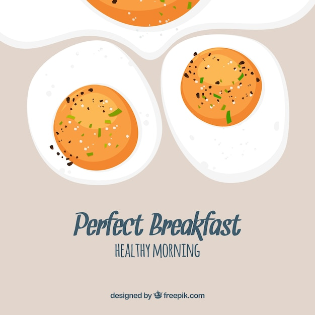 Food background with fried eggs Free Vector