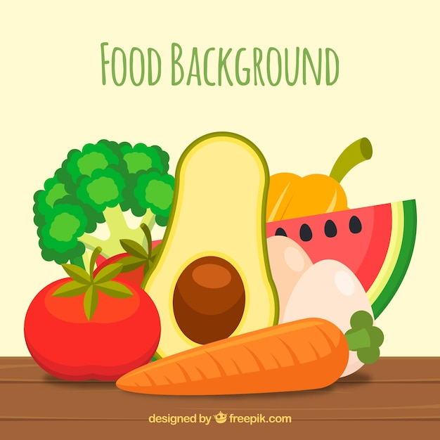 Food background with fruits and vegetables Free Vector
