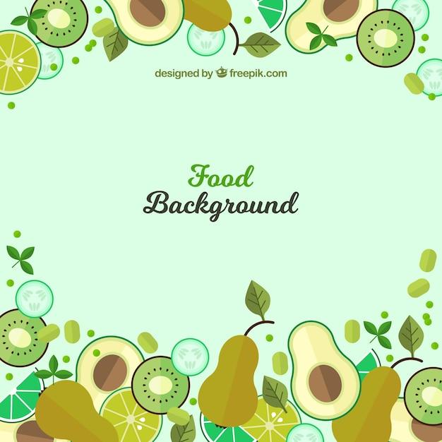 Продовольственная фон с зелеными плоскими плодами Бесплатные векторы