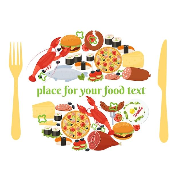 Концепция значка еды с изображением места с иконками еды, расположенными по кругу, как если бы на тарелке с ножом и вилкой с обеих сторон и центральным пространством для текста Бесплатные векторы