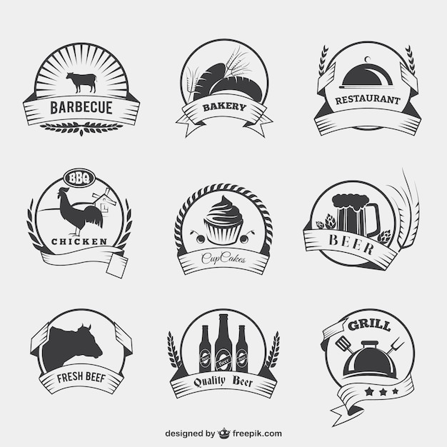 Food badges in retro style Premium Vector