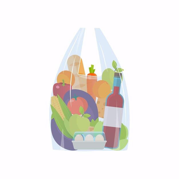 フードバッグ食料品ショッピング Premiumベクター