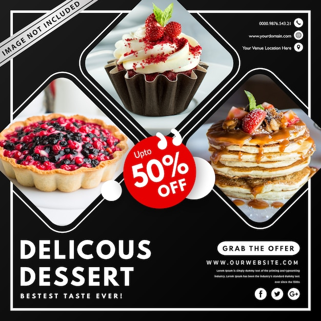 Food banner template with photo Premium Vector