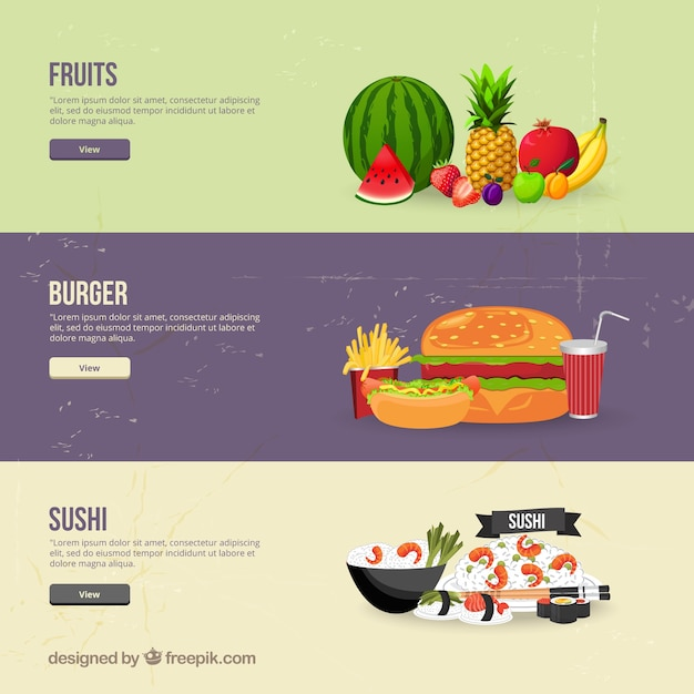 Food banners Free Vector