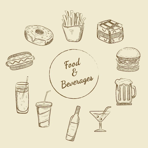 Food and beverages designs Free Vector