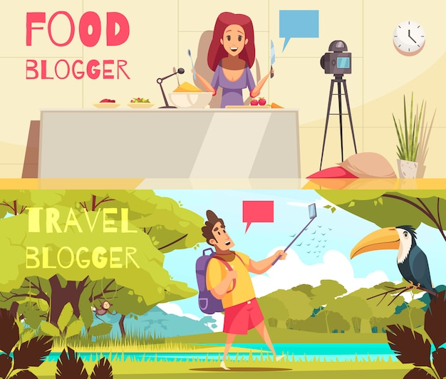 Food blogger banners collection Free Vector