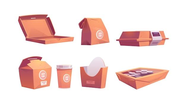 Ящики для еды, картонные пакеты и чашки, одноразовые бумажные пакеты на вынос для фастфуда, обеды, суши, роллы, пицца или картофель фри, кофе и напитки на вынос. иллюстрации шаржа, набор иконок Бесплатные векторы