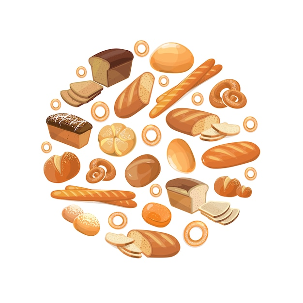 Food bread rye wheat whole grain bagel sliced french baguette croissant icons in circle Premium Vector