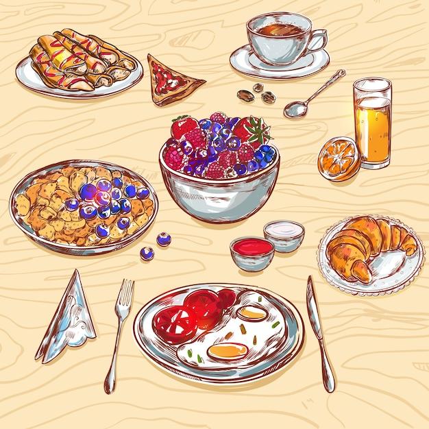 食品朝食ビューアイコンセット 無料ベクター