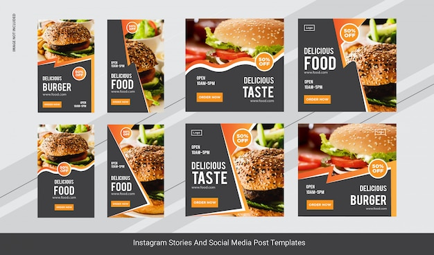 Food burger instagram post, stories banner Premium Vector