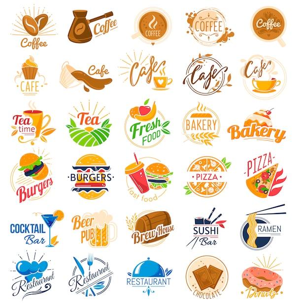 フードカフェのロゴを設定します。 Premiumベクター