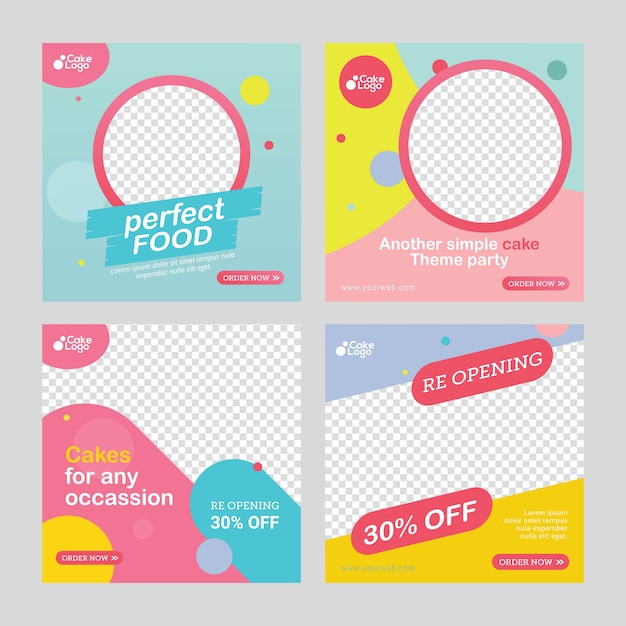 Food and cakes post social media template Premium Vector
