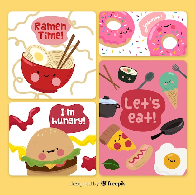 Food card collection Premium Vector