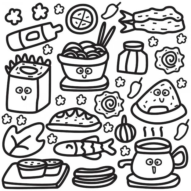 Шаблон дизайна еды мультфильм doodle Premium векторы