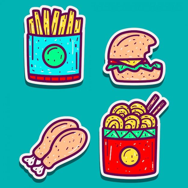 食品漫画落書きデザインテンプレート Premiumベクター