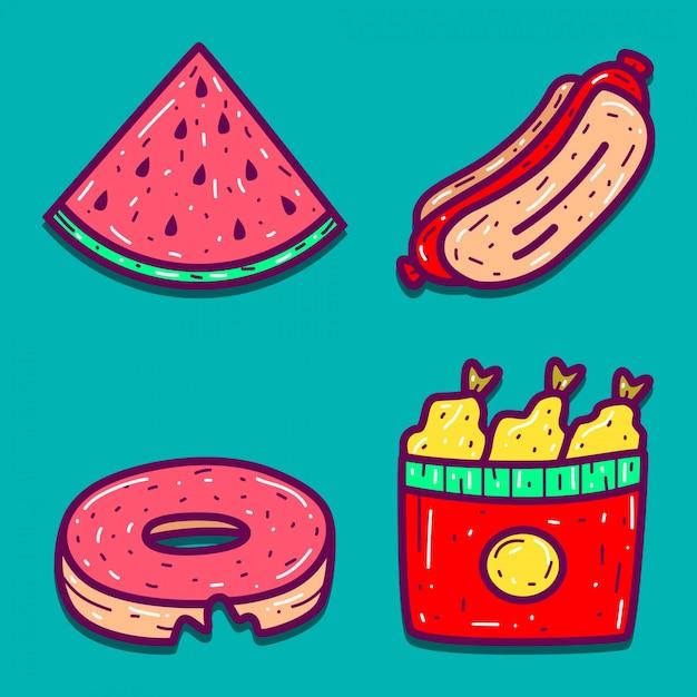 食品漫画落書きデザイン Premiumベクター