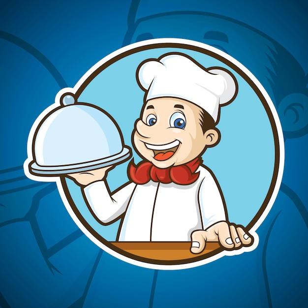 Food chef mascot Premium векторы