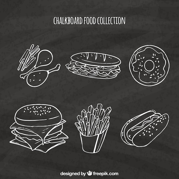 Food collection in chalkboard style Free Vector