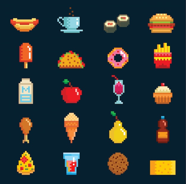 Food collection in retro pixel art style. burger, french fries, sushi, ice cream. 8bit game Premium Vector