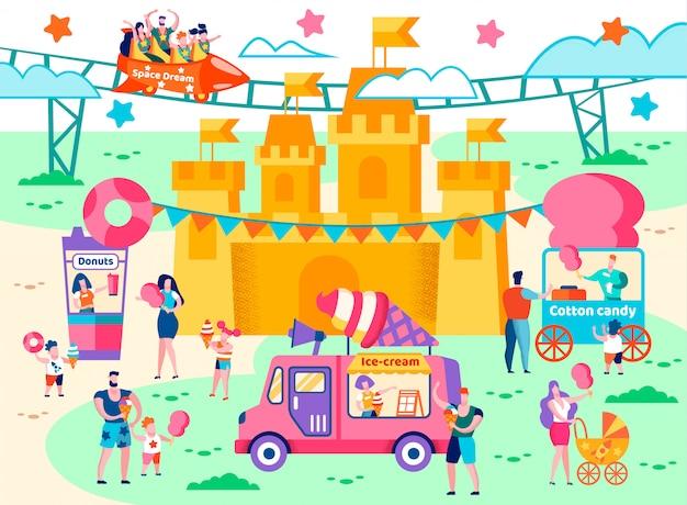 Food court in an amusement park flat cartoon. Premium Vector