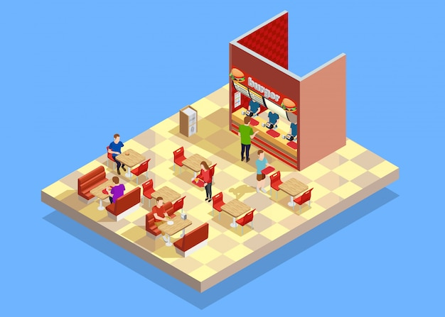 Food court counter area isometric composition Free Vector