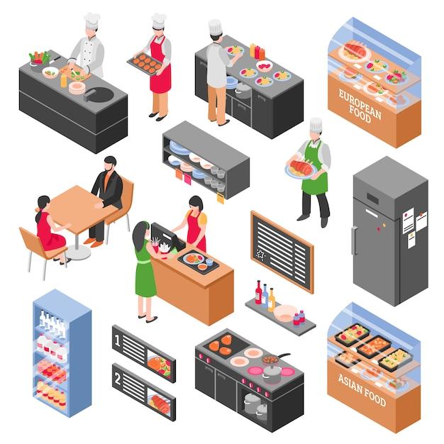 Food court elements set Premium Vector