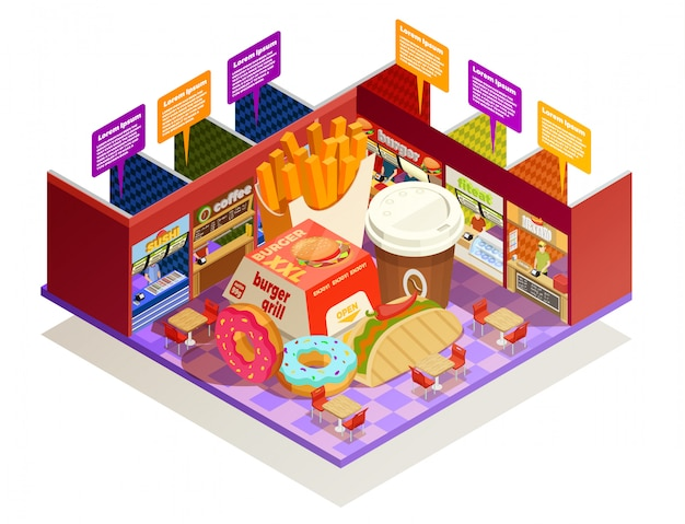 Food court interior elements isometric composition Free Vector