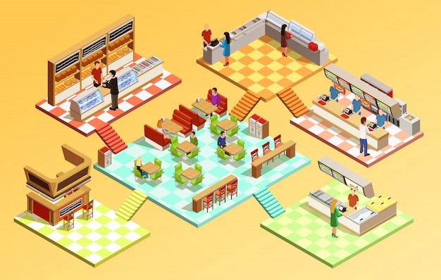 Food court isometric concept Free Vector