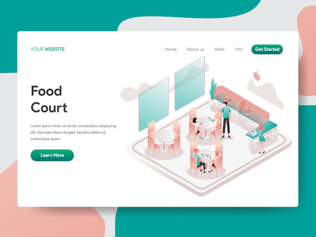 Food court isometric illustration. landing page Premium Vector