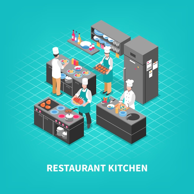Food court kitchen composition Free Vector