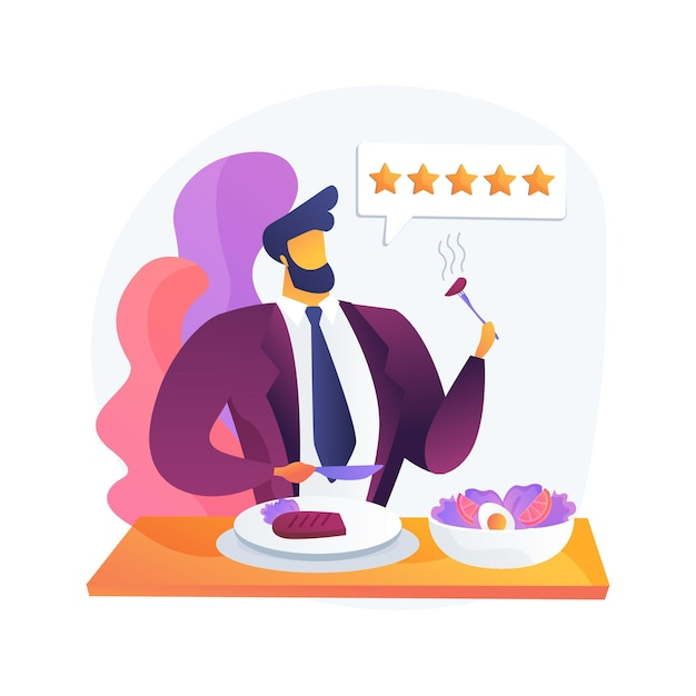 料理評論家の抽象的な概念図。食べ物の分析、レストランのシェフ、レビューの書き込み、評価、専門家の意見、料理番組、秘密のゲスト、旅行ガイド 無料ベクター